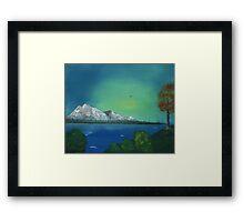 Mountain and Lake Haze Framed Print