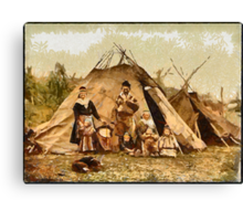 A digital painting of a Lapp (Sami) family, Norway 19th century Canvas Print