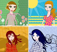 Four Seasons  - Spring, Summer, Autumn, Winter by silvianeto