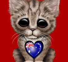 Cute Kitten Cat with Australian Flag Heart by Jeff Bartels