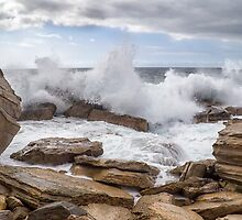 Waves on Coogee Rocks by Kevin Hellon