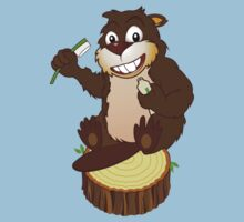 Beaver cartoon character with a toothbrush by PaulMalyugin