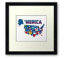 Patriotic America Map With States Flags iPod / iPhone 4  / iPhone 5 Case / Samsung Galaxy Cases  Framed Print