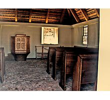 Inside The Sanctuary, looking at the Pulpit, Church of the Three Mile Run Photographic Print