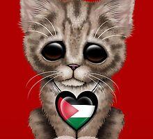 Cute Kitten Cat with Palestinian Flag Heart by Jeff Bartels