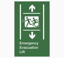 Emergency Evacuation Lift Sign, Left Hand Down and Up Arrows, with the Accessible Means of Egress Icon and Running Man, part of the Accessible Exit Sign Project Kids Clothes