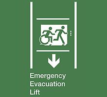 Emergency Evacuation Lift Sign, Right Hand Down Arrow, with the Accessible Means of Egress Icon and Running Man, part of the Accessible Exit Sign Project by LeeWilson