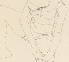 Female nude bent forward, both hands on the left thigh by Bridgeman Art Library