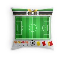 Infographic Set of Soccer Field and Icons Throw Pillow