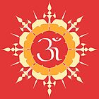 OM symbol on red and yellow flower by cycreation