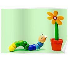 Caterpillar and Flower Poster