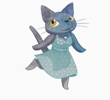 Cute Grey Kitty in Polka Dot Dress by Veronica Guzzardi