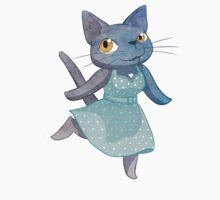 Cute Grey Kitty in Polka Dot Dress by Veronica Guzzardi