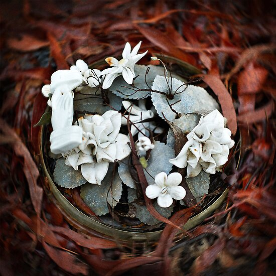 """Graveyard Adornments #35 - """" Broken Glass Dome ... Ceramic Flowers """" by Malcolm Heberle"""