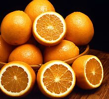 Sweet Oranges Whole and Halved by taiche