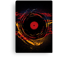 Vinyl Record Retro Grunge with Paint and Scratches - Music DJ! Canvas Print