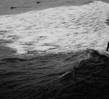 Surfer Catches Wave by thebrada