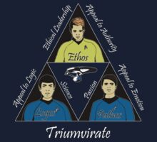 Star Trek Triumvirate - White Text for dark shirts by reddesilets