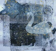 Cosmic Swan Original Square Version by Heather Holland by Heatherian