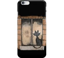 Black Cat in the window iPhone Case/Skin