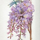 Wisteria Flower with Blue and Green Dragonfly by Ray Shuell