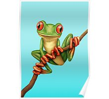 Cute Green Tree Frog on a Branch Poster
