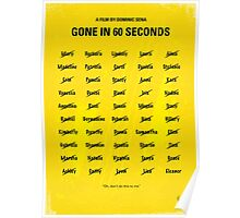 No032 My Gone In 60 Seconds minimal movie poster Poster