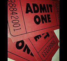 """Film Ticket """"Admit One"""" Pillow by Napy"""