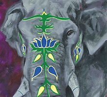 Painted Elephant - purple background by KoreanRussell