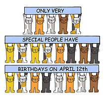 Cats celebrating birthdays on April 12th. by KateTaylor