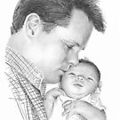 Father and baby daughter drawing by Mike Theuer