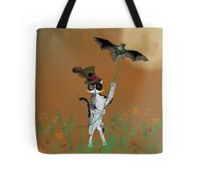 Steampunk Kitty Flying A Bat Tote Bag