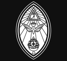 Aleister Crowley - OTO - Occult - Thelema (White On Black) by James Ferguson - Darkinc1