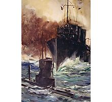 'HMS Badger ramming a German submarine' Photographic Print