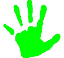 Neon Green Handprint by kwg2200