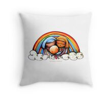 Christmas Rainbows Nativity  Throw Pillow