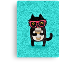 Coffee Cat and Doodles Canvas Print