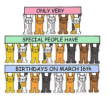 Cats celebrating birthdays on March 16th by KateTaylor