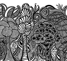 Prints of Gardens #4(Deep Jungle) hand drawn art by martywoodskk