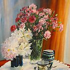 Coffee with carnations. by Beatrice Cloake