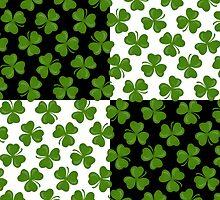 Irish Shamrocks on Black and White by DebiDalio