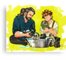 rub a dub dub six pugs in a tub Canvas Print