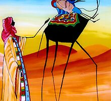 African painting of nomads - Print by WonderMeMosaics