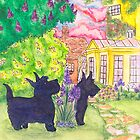 Stately garden Scotties by LiseRichardson