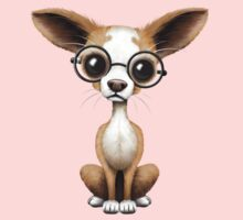 Cute Curious Chihuahua Wearing Eye Glasses on Pink Kids Clothes