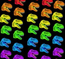 Rainbow T-Rex Pattern Black by BrittanyPurcell