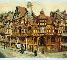 A digital painting of The Cross and Rows, Chester, England by Dennis Melling