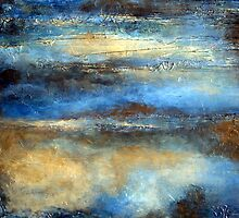 Blue, Brown and Gold Abstract Painting CLOUD DRIFTER by hollyanderson