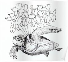 Flying Turtle Poster