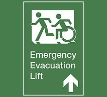 Emergency Evacuation Lift Sign, Left Hand Up Arrow, with the Accessible Means of Egress Icon and Running Man, part of the Accessible Exit Sign Project by LeeWilson